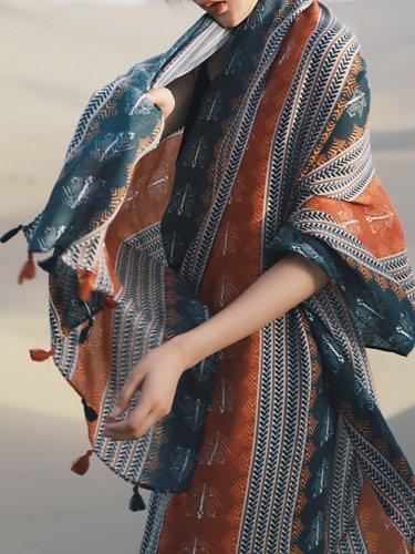 Multicolor Casual Cotton Beach Tribal Scarf