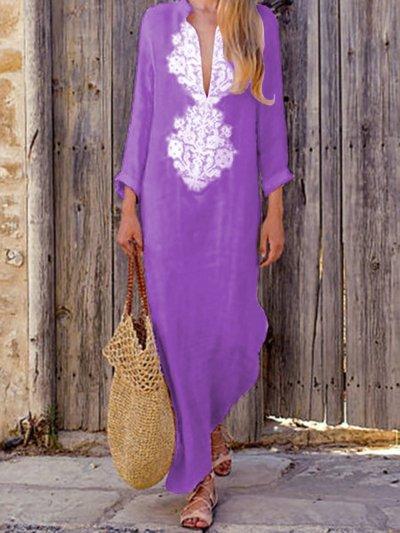 Women Casual Cotton Dress Shift Holiday Maxi Dresses
