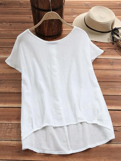 Solid Round Neck Cotton Casual Casual Tops