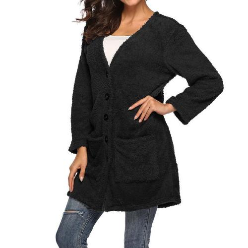 Women Long Sleeve Thick Double-sided Plush Cardigan Coat Jacket