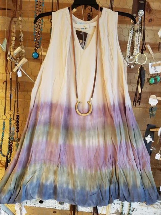 Plus Size Ombre/tie-Dye Vintage Cotton-Blend Crew Neck Dresses