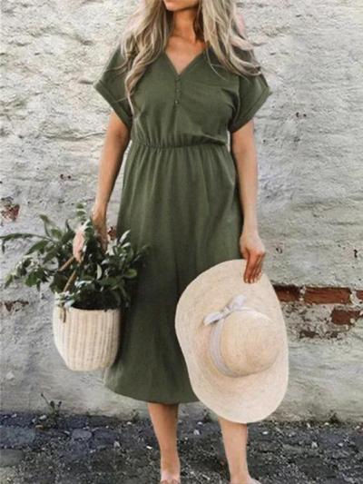 Green V Neck Knitted Boho Shift Dresses