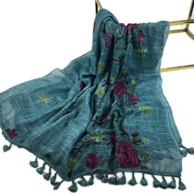 2020 Autumn Winter Embroider Viscose Shawl Scarf with Pom Pom High Quality Warm Pashmina Stole Bandanas