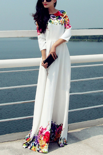 Printed Floor Length White Evening Dress