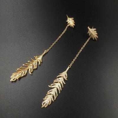 Fashion Vintage Feather Wings Long dangle Earrings for Women Jewelry