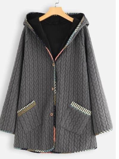 Hoodie Cotton-Blend Pockets Long Sleeve Outerwear