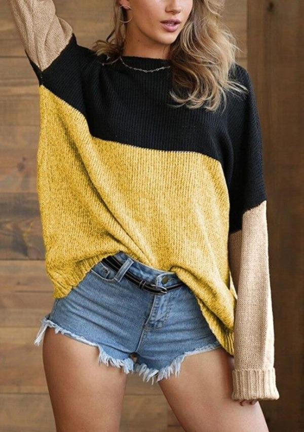 2020 New Style for Autumn and Winter Women's Knitwear Horizontal Neck Color Pullover Sweater