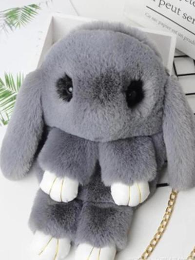 Cute Cartoon Rabbit Crossbody Bag New Plush Female Bag Chain Shoulder Bag Fashion Folder Bag