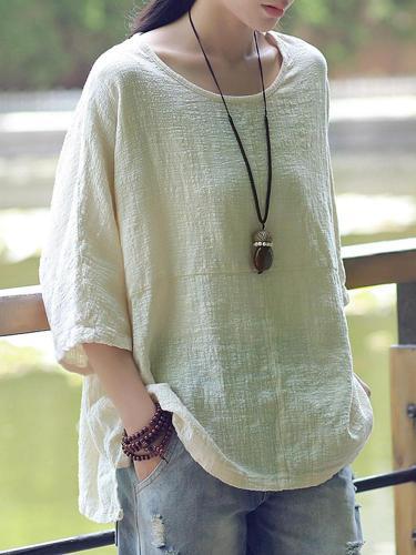 New Women Casual Loose Solid O-neck Shirt Half Sleeve Cotton Linen Top