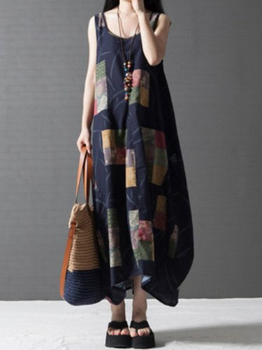 Plus Size Spaghetti Linen A-line Printed Maxi Dress
