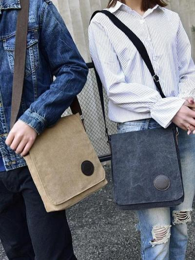 Vintage Canvas Shoulder Bag Multi-layer Crossbody Large-capacity Leisure Bag