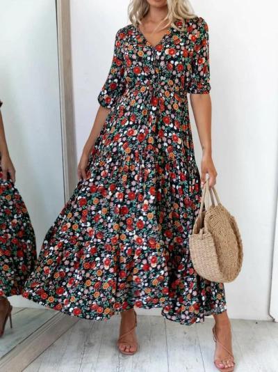 Black Short Sleeve Casual Dresses Flower dress