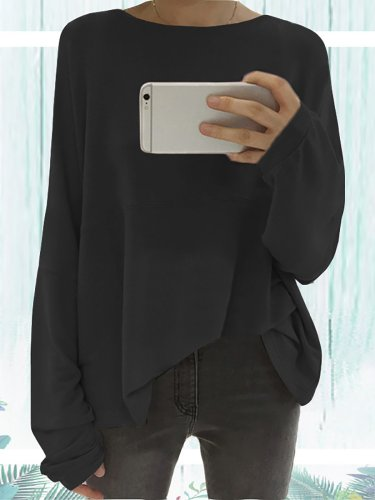 Long Sleeve Solid Elegant Paneled Round Neck Cotton Plus Size Chic Shirts
