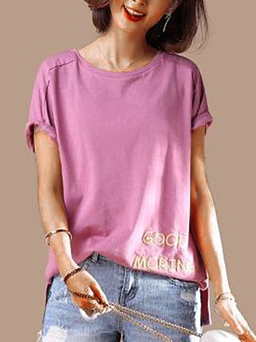 Plus Size Women  Embroidered Floral Short  Sleeve  Round  Neck  Solid  Loose Casual Top