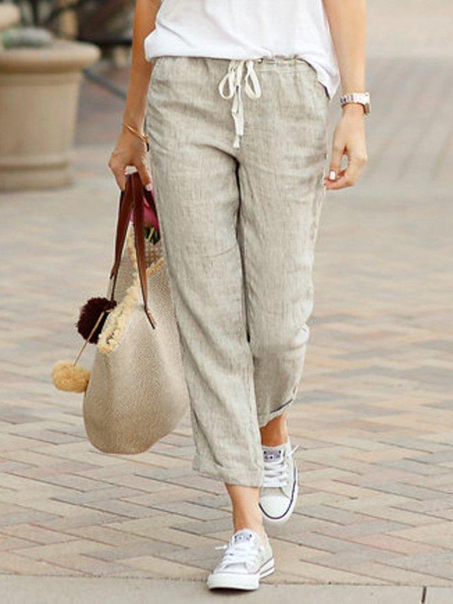 Summer Capri Pants Pockets Drawstring Casual Pants