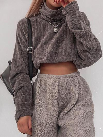 Fashion Pile Collar Solid Color Short Knit Sweater