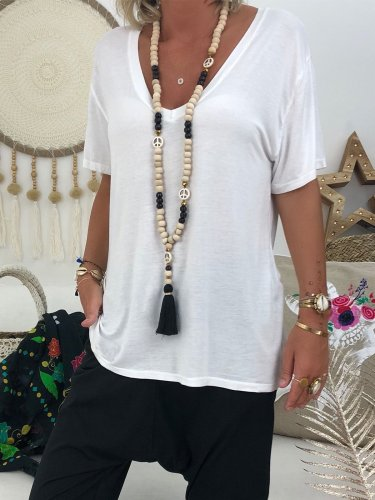 V Neck Casual Solid Shirts & Tops