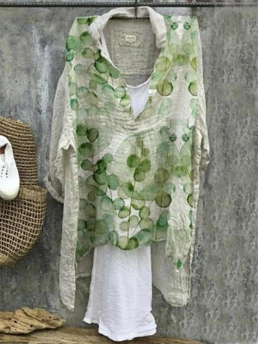 Green Cotton-Blend Patchwork Vintage Shirts & Tops