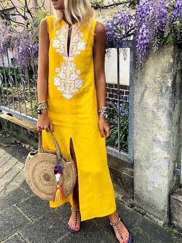 Sleeveless Geometric Casual Linen Maxi Dresses