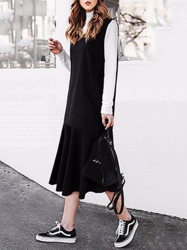 Plus Size Ruffled Basic Midi Dress
