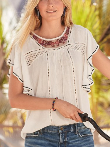 White Round Neck Patchwork Short Sleeve Cotton-Blend Shirts & Tops