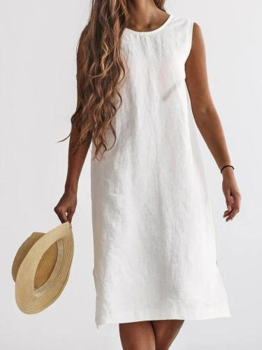 Solid Color Crew Neck Summer Linen Midi Dress