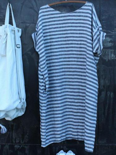 Plus Size Casual Striped Round Neck Pockets Dresses