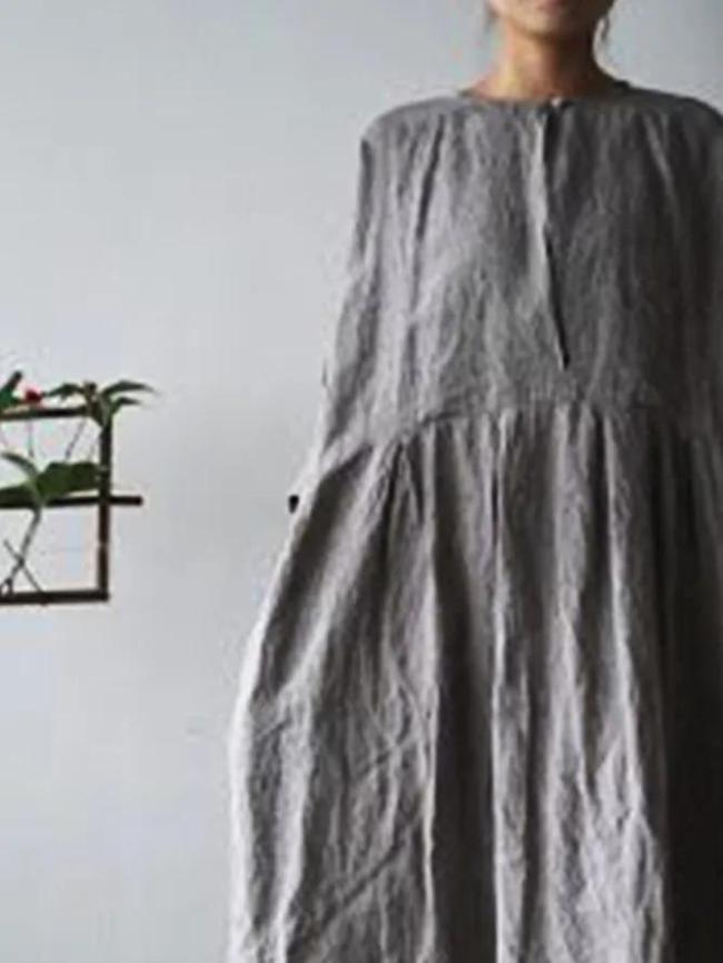 Gray Cotton-Blend Casual Shift Crew Neck Dresses