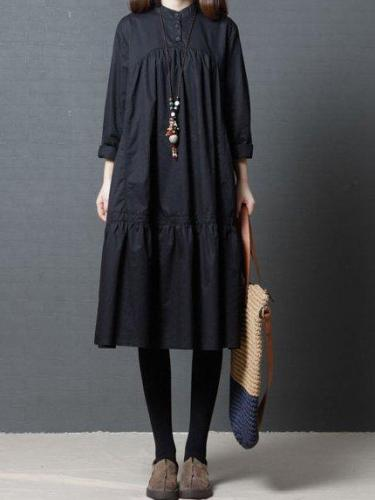 Women Long Sleeve Casual Cotton Solid Dress