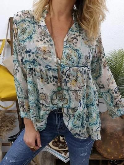 Holiday V Neck Chiffon Long Sleeve Shirts & Tops
