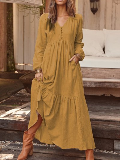 V Neck Women Dresses Pockets Going Out Casual Paneled Dresses