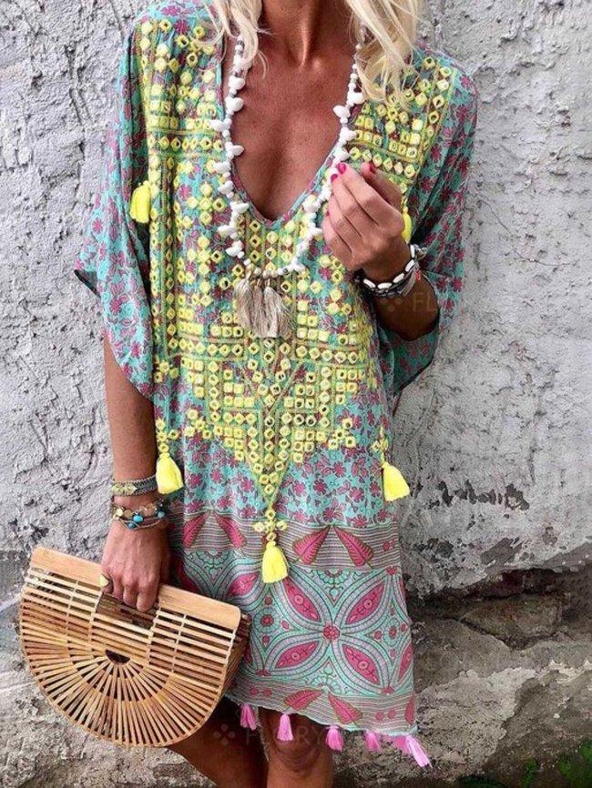 Floral Tassel Printed Casual Summer Above  Knee Shift Dresses