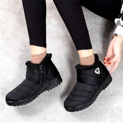 Warm Waterproof Cloth Low Heel Snow Boots