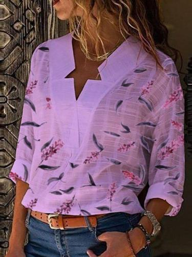 Casual V Neck Printed Long Sleeve Shirts & Tops