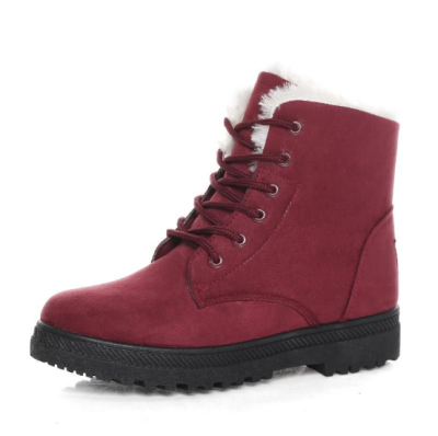 Solid Color Lace-up Winter Daily Flat Heel Suede Boots Snow Cotton Booties