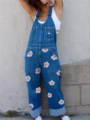 Floral Casual Denim Jumpsuit
