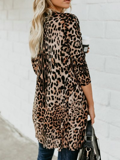 Leopard Buttoned Knitted Casual Quilted Cardigans