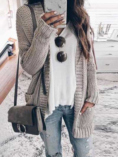 Knitted Long Sleeve Plain Cardigan