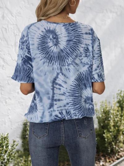 Blue Boho Ombre/tie-Dye Shirts & Tops
