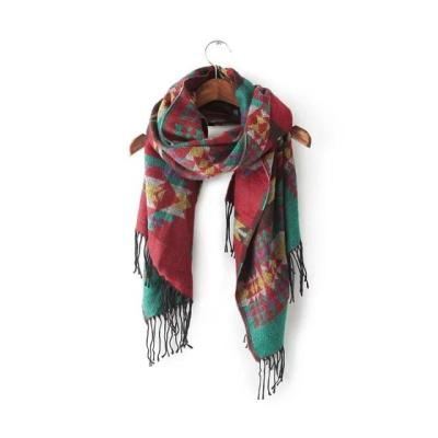 Bohemian retro geometric ethnic jacquard long shawl knitted scarf