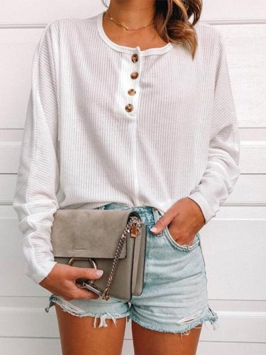 Solid Buttoned Round Neck Sweater shirt