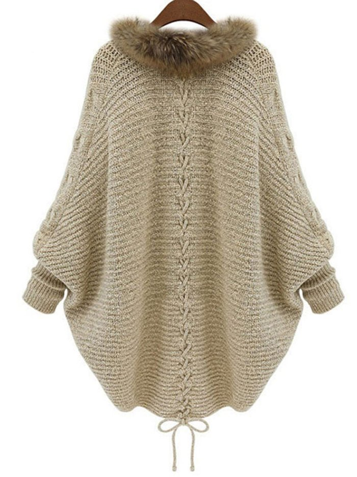 Batwing Lace Up Casual Plain Cocoon Sweaters & Cardigan