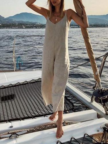 Jumpsuit For Women Loose Casual V Neck Cotton And Linen Wide Leg Jumpsuit