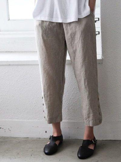 Light Kahaki Casual Plain Cotton Pants