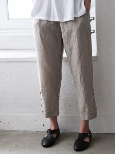 Light Kahaki Casual Plain Cotton Pants