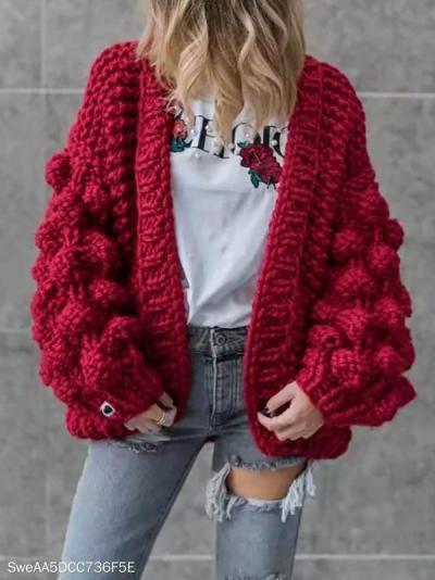 Hand-Knitted Lantern Sleeve Sweater