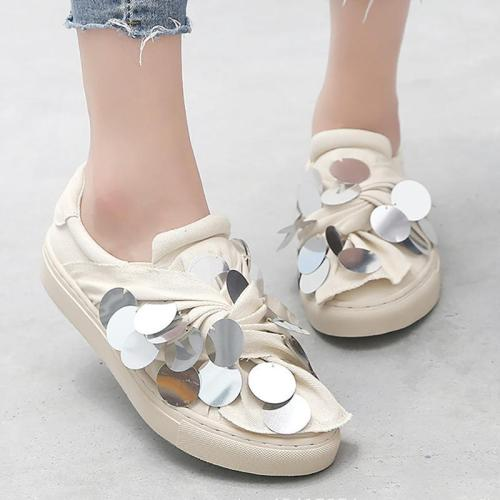 Women Canvas Loafers Casual Sequin Slip On Shoes