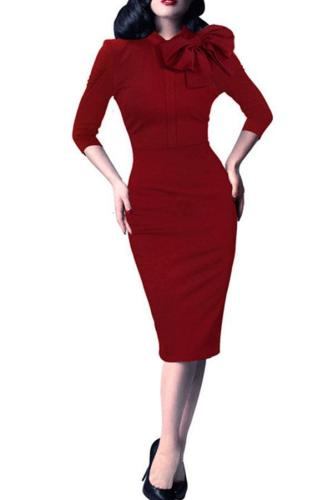 Elegant Round Neck Bow Slim Bodycon Dress