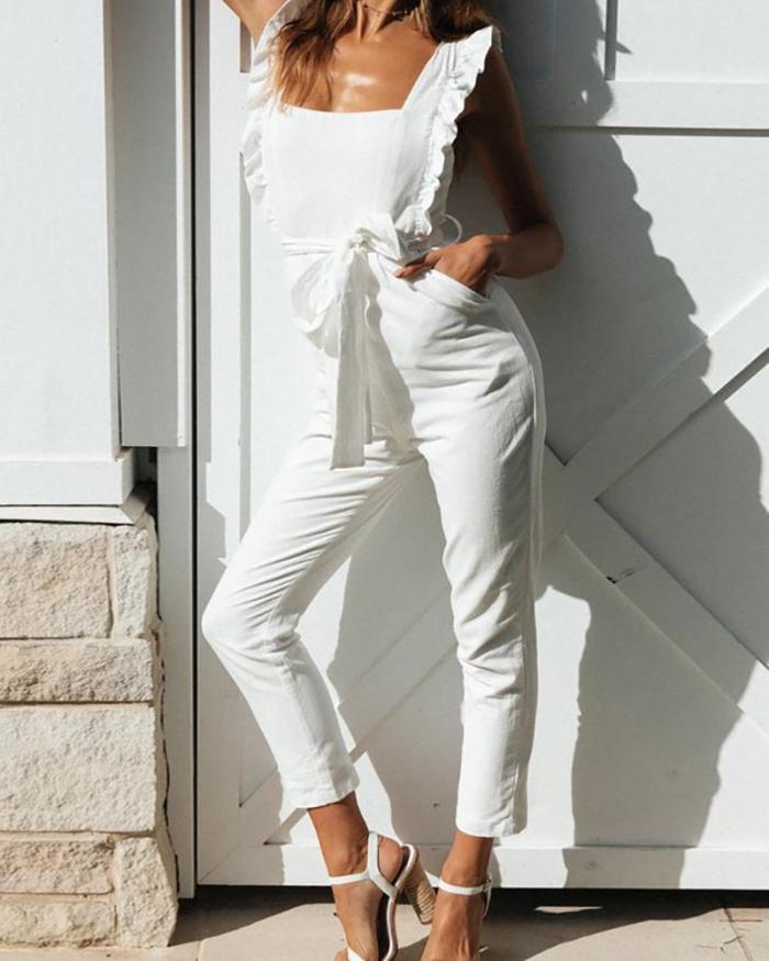 Ruffled Backless Sexy Elegant Jumpsuit