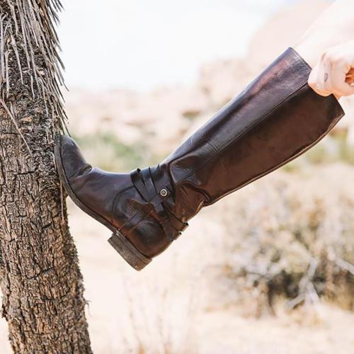 Women's Low Heel Casual Zipper Long Boots
